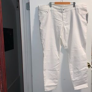 Mid rise stain repellent white denim jeans